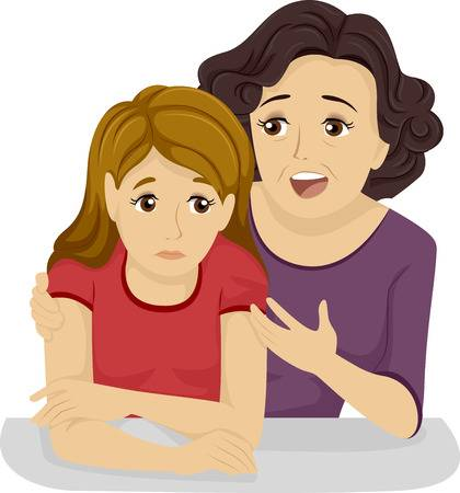 35845361-彼女の-10-代の娘にいくつかのアドバイスを与える母の図